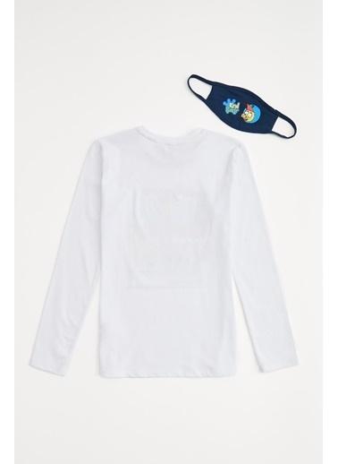 DeFacto Erkek Çocuk Baskılı Tişört Maske Takım Beyaz